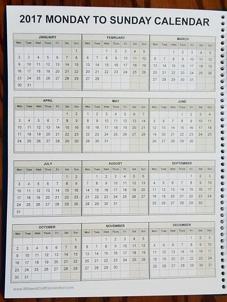 calendar 2017 weeks