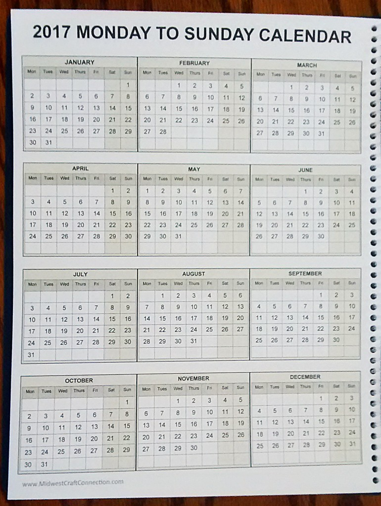 Easily Viewable Full 2017 Calendar for Monday to Sunday Work Weeks.