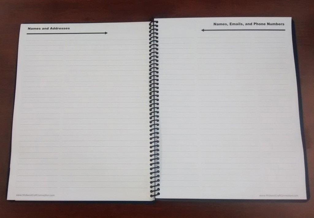 Additional Space at the Back of the Monthly Planner for Writing Names, Emails, Addresses, and Phone Numbers, as well as, Other Important Contact Information.