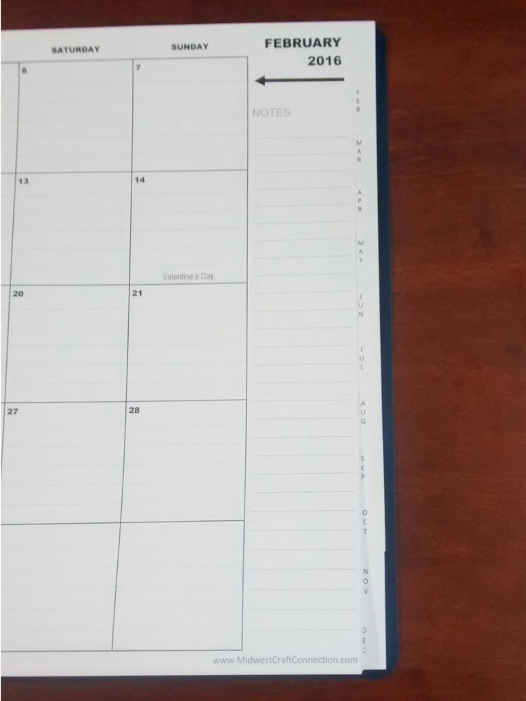 "Large 2"" W x 2"" H Daily Blocks are Clearly Outlined and have Lightly Ruled Lines. Plus, there is a Convenient Monthly ""Notes"" Area on the Side to Write Additional Notes to Remember."